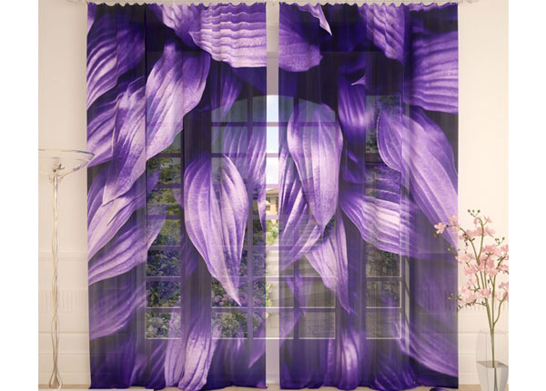 Tüllkardinad Purple Leaves 290x260 cm AÄ-138253