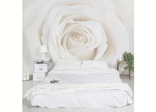 Fleece-kuvatapetti PRETTY WHITE ROSE