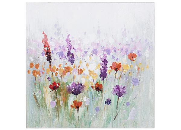 Масляная картина Разноцветные цветы 30x30 см