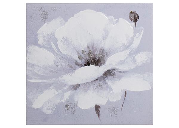Масляная картина Белый цветок 30x30 см