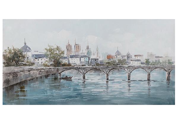 Масляная картина Город на берегу речки 70x140 cm