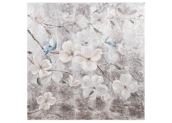 Масляная картина Белые цветы / бабочки 90x90 cm