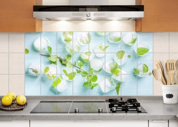 Kleebised seinaplaatidele Ice cubes with mint leaves 60x120 cm