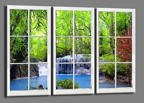 Kolmeosaline seinapilt Window waterfall 120x80 cm