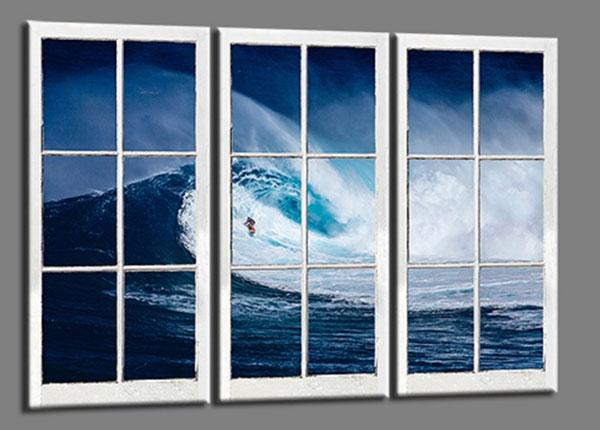 Kolmeosainen seinätaulu SURFER WAVE 120x80 cm