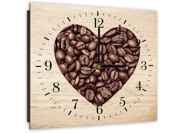Настенные часы с изображением Heart from coffee beans ED-144115