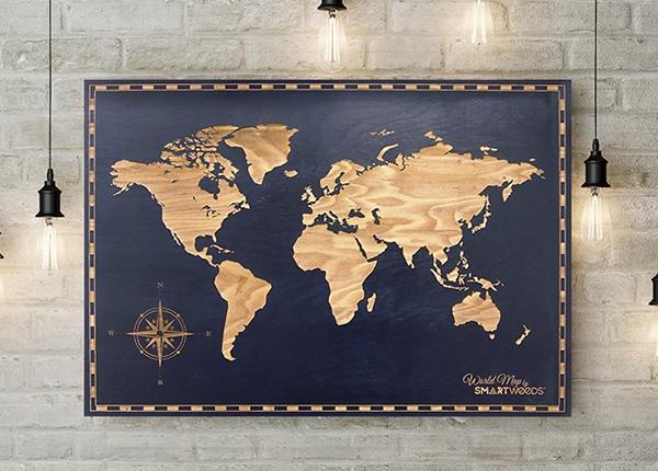 Puinen seinätaulu MAAILMAN KARTTA 120x90 cm