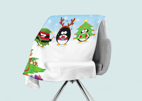 Fleecepeitto Christmas Penguins 130x150 cm ED-146532