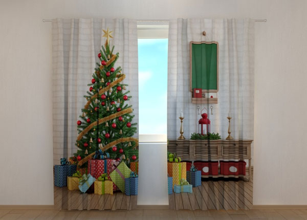 Puolipimentävä verho Christmas Tree with Gifts 240x220 cm ED-146955