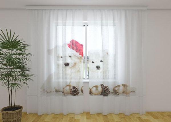 Läpinäkyvä verho Christmas Puppies 240x220 cm ED-146960