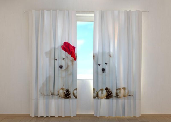 Poolpimendav kardin Christmas Puppies 240x220 cm
