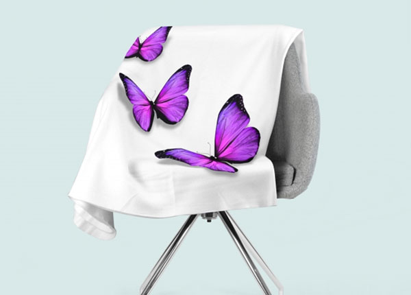 Fleecepeitto Purple Batterfly 130x150 cm ED-147079