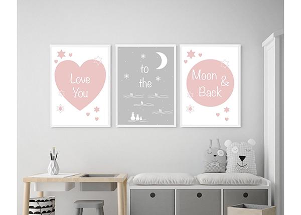 Kolmeosaline seinapilt Love you to the moon and back