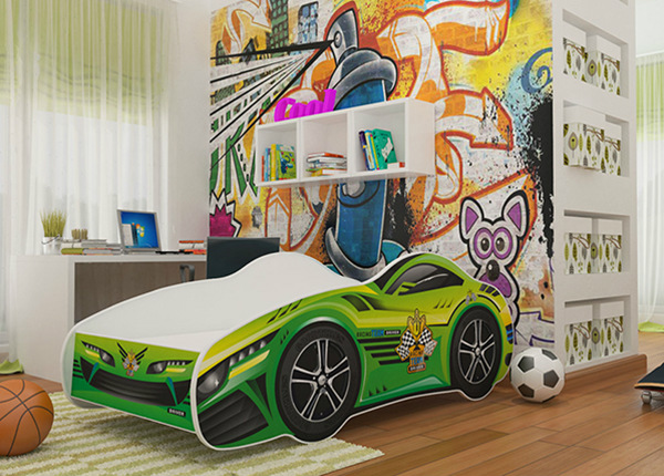 Lastevoodi Green Car 70x140 cm