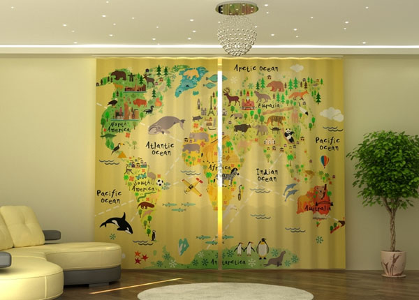 Poolpimendav kardin Kids Map 290x245 cm ED-152338