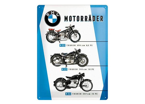 Retro metallijuliste BMW moottoripyörät 30x40 cm SG-153929