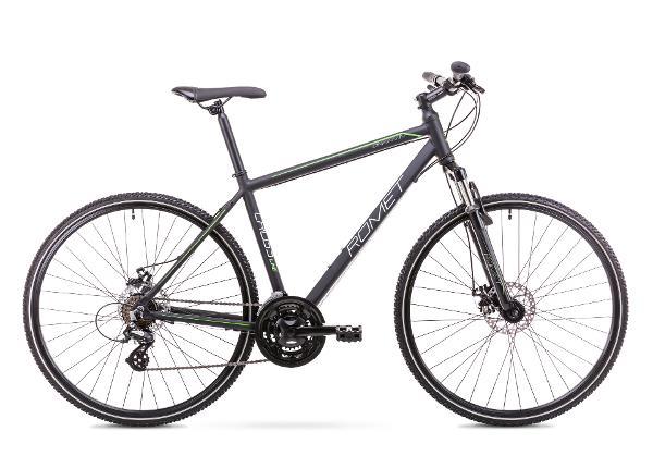 Мужской гибридный велосипед 21 L Rower ROMET ORKAN 1 M черно-зеленый
