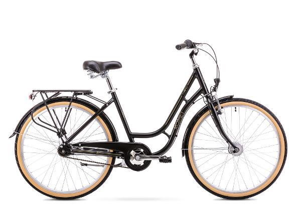 Naisten kaupunkipolkupyörä 8 M Rower ROMET TURING 7S musta