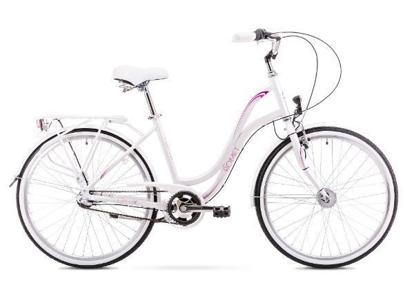 Naisten kaupunkipyörä 19 L Rower ROMET POP ART 26, valkoinen