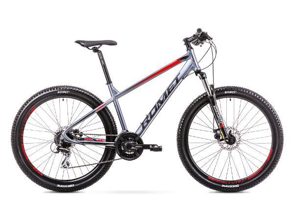 Мужской горный велосипед 17 M Rower ROMET RAMBLER R7.2 графитово-красный