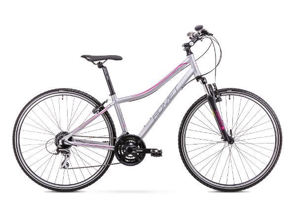 Naisten hybridipyörä 15 S Rower ROMET ORKAN 2 D hopea-roosa
