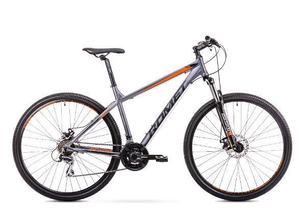 Мужской горный велосипед 17 M Rower ROMET RAMBLER R9.1 графитовый/оранжевый