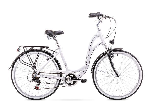 Naisten kaupunkipyörä 19 L Rower ROMET SYMFONIA 1.0 valkoinen