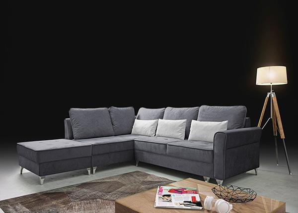 Угловой диван-кровать с ящиком + пуф