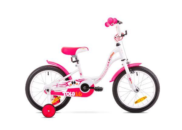 Tüdrukute jalgratas 9 S Rower ROMET TOLA 16 valge-roosa