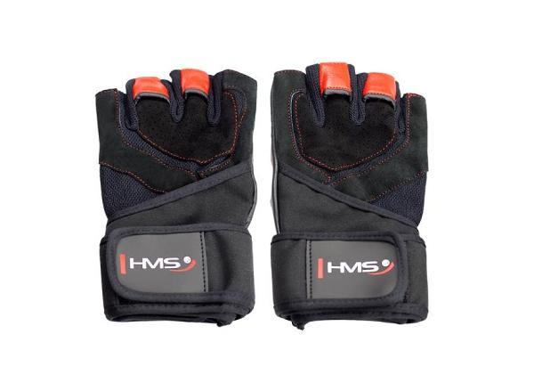 Перчатки для фитнеса черный / красный HMS XL