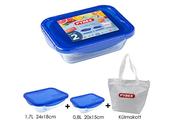 Komplekt Pyrex toidukarp/ahjuvorm 2 tk + külmakott