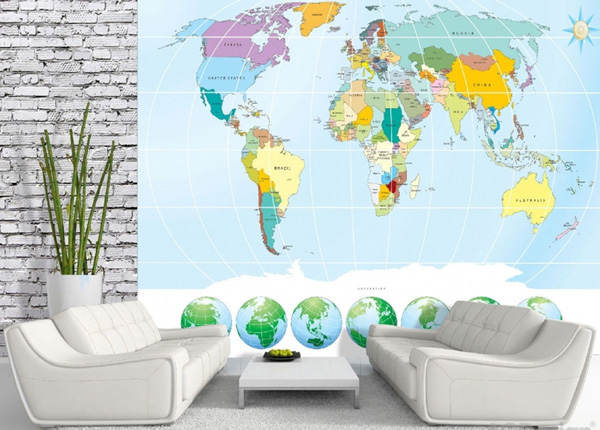 Fliistapeet World map 3 360x270cm