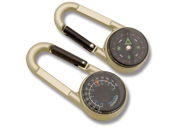 Karabiin koos kompassi ja termomeeterga