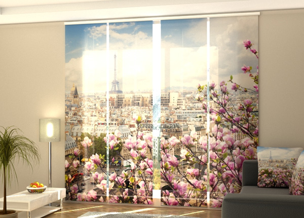 Puolipimentävä paneeliverho Eiffel Tower with Blooming Magnolia 240x240 cm ED-189440