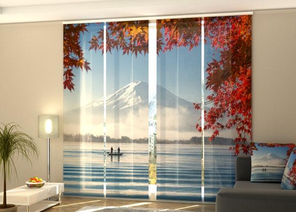 Puolipimentävä paneeliverho Mountain Fuji and Lake Kawaguchiko 240x240 cm