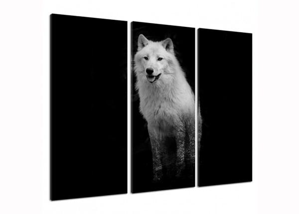 Картина из 3-частей White Wolf 3D 90x80 см