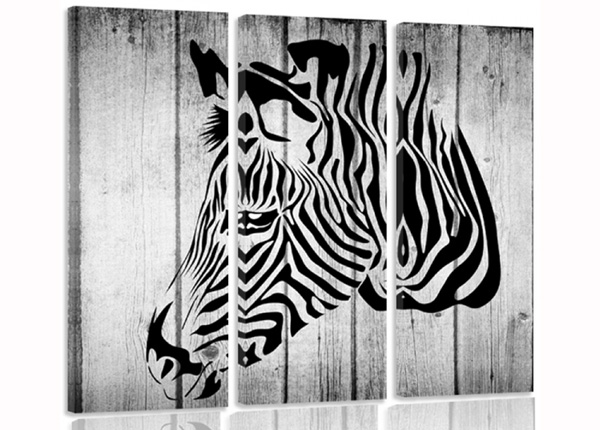 Kolmeosaline seinapilt Zebra on boards 3D
