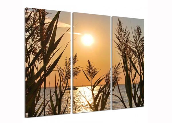 Kolmeosainen seinätaulu The setting sun on the lake 3D