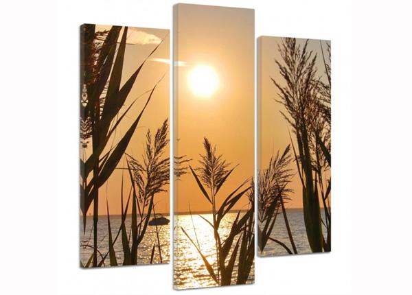Картина из 3-частей The setting sun on the lake 3D 90x80 см