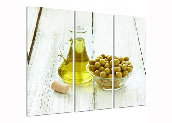 Kolmeosaline seinapilt Olives in a bowl 3D