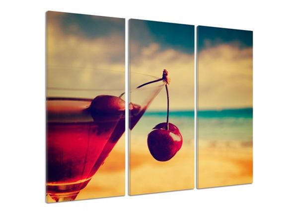 Картина из 3-частей Cherry drink 3D 90x80 см