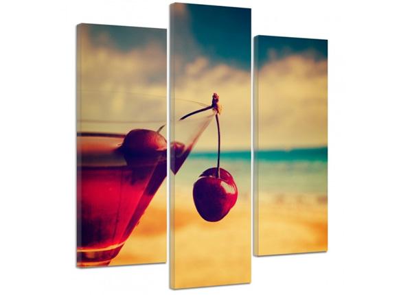Kolmeosaline seinapilt Cherry drink 3D