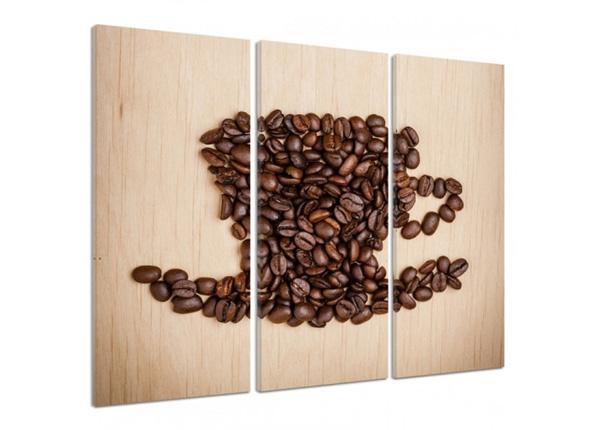 Kolmeosaline seinapilt Cup of coffee beans 3D
