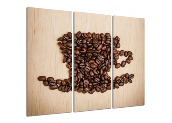 Картина из 3-частей Cup of coffee beans 3D 90x80 см