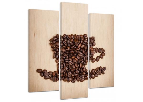 Kolmeosaline seinapilt Cup of coffee beans 3D 90x80 cm
