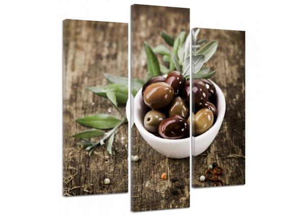 Kolmeosaline seinapilt Fresh olives 3D