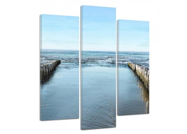 Картина из 3-частей Breakwaters on the beach 2 3D 90x80 см