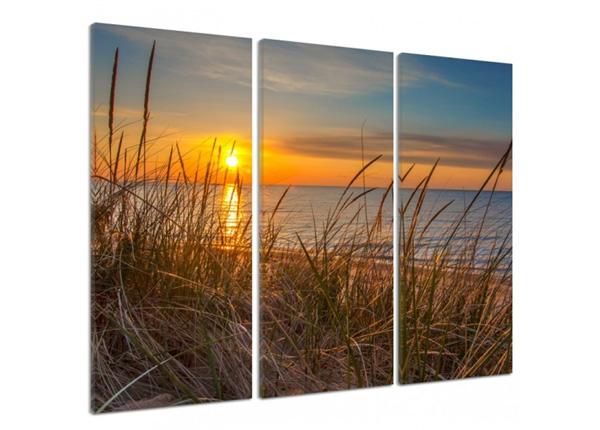 Kolmeosaline seinapilt Sunset over the dunes 3D