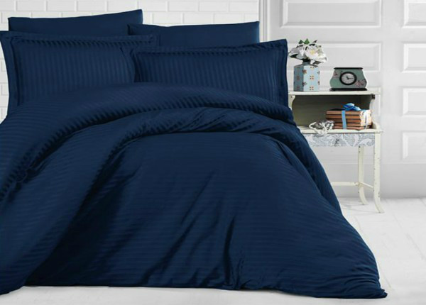 Satiinist voodipesukomplekt Uni Dark Blue 200x220 cm