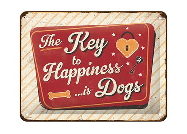 Металлический постер в ретро-стиле The Key to Happiness... is Dogs 15x20 см SG-195058